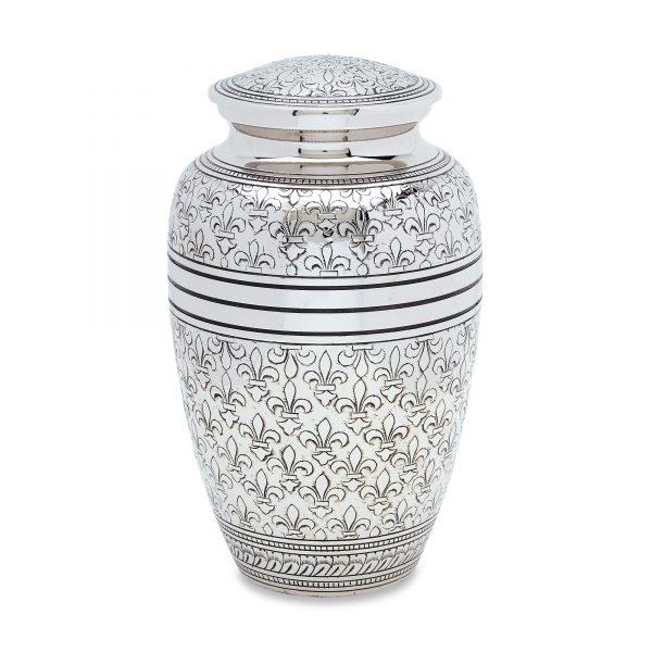 Silver Fleur De Lis Adult Urn