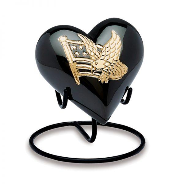 AMP Black n gold keepsake heart urn