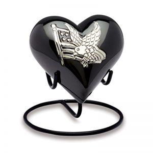 AMP Black n silver keepsake heart urn