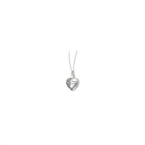 Always in my heart cremation urn pendant