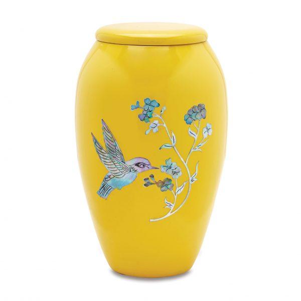 Yellow Hummingbird Adult Urn