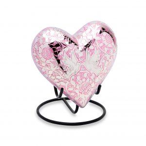 Pink Loving Doves Keepsake Heart
