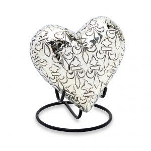 Silver Fleur De Lis Keepsake Heart