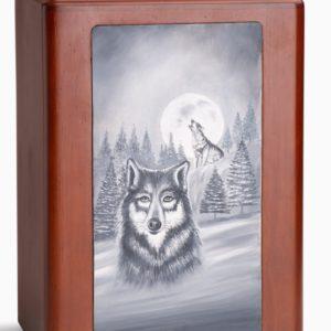 Lone Wolf Wood Urn