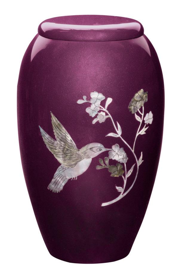 Burgundy Hummingbird Adult Urn